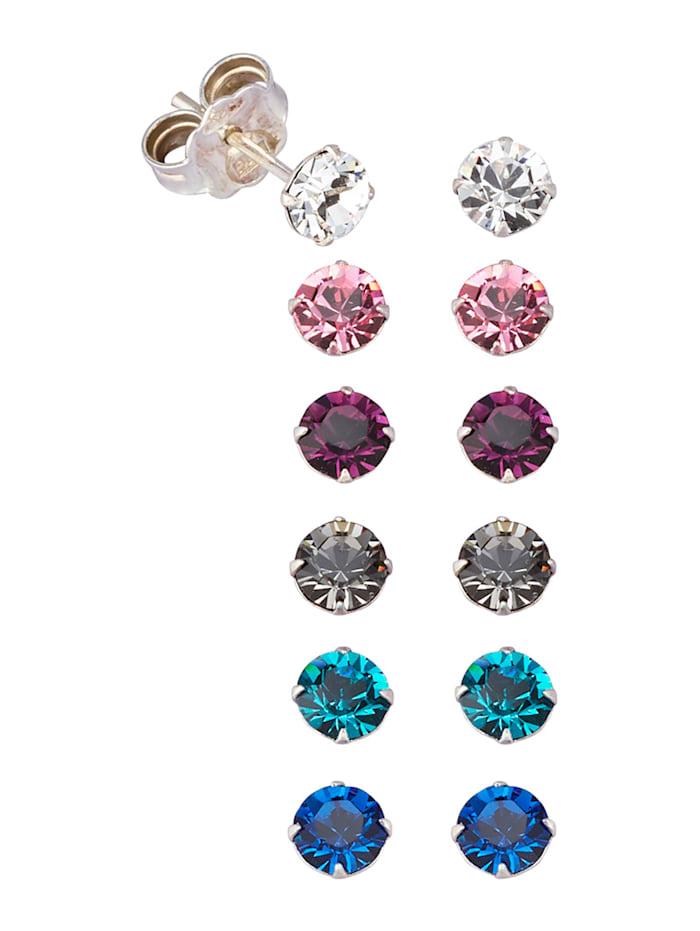 6-delige set oorstekers met kristallen, Multicolor