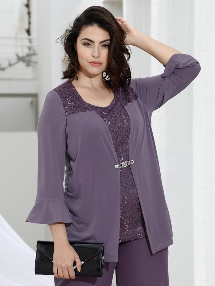 m. collection 2-in-1 Shirt durch Jacke und integriertem Top, Flieder