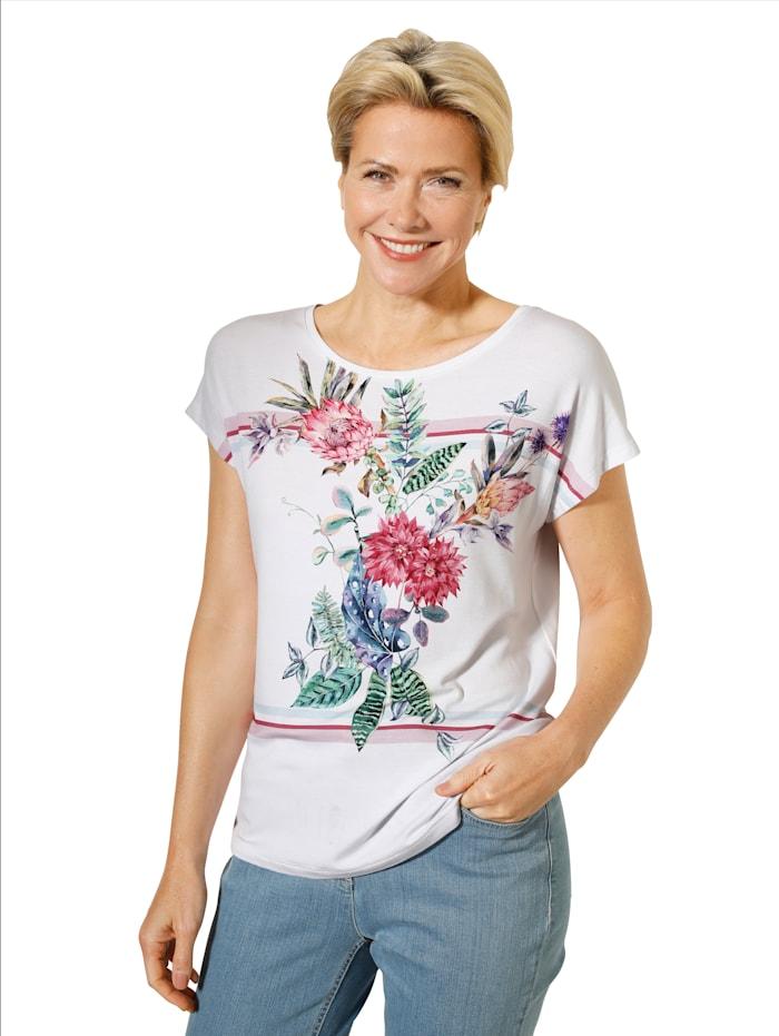 MONA Shirt mit hübschem Druck-Mix, Weiß/Multicolor
