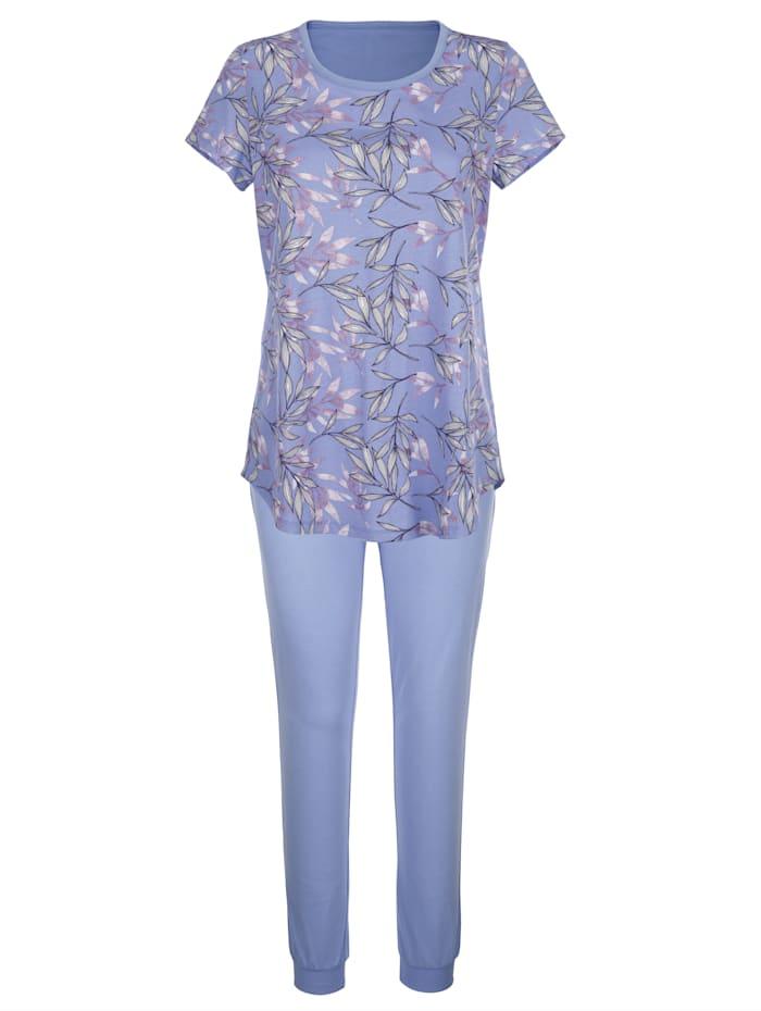 Blue Moon Pyjamas med mönstrad överdel, Lavendel/Benvit