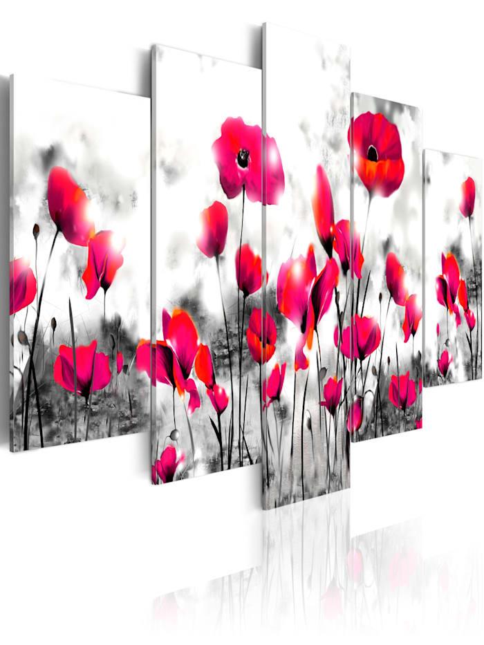 artgeist Wandbild Perdition - 5 parts, Schwarz,Grau,Rot,rosa,Weiß