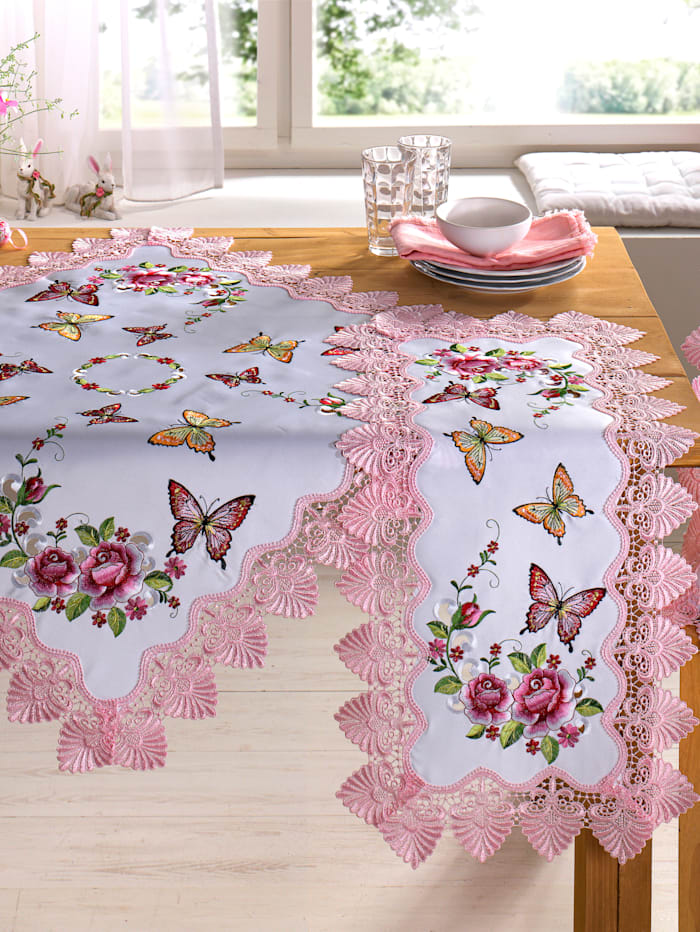 Webschatz Tafellinen Cara, wit/roze/multicolor