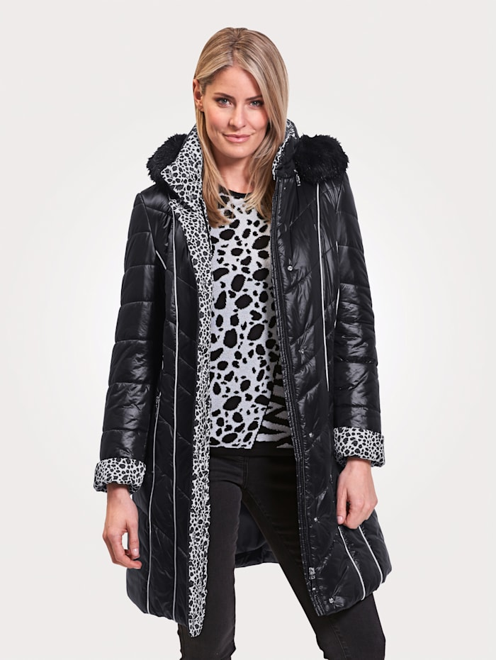 MONA Coat with contrast detailing, Black/White