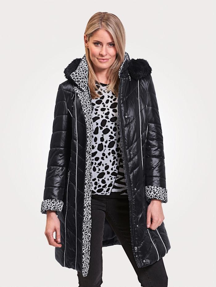 MONA Manteau court à finition contrastante, Noir/Blanc