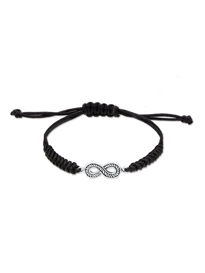Kuzzoi Armband Textilband Infinity Symbol Oxidiert 925 Silber, Schwarz