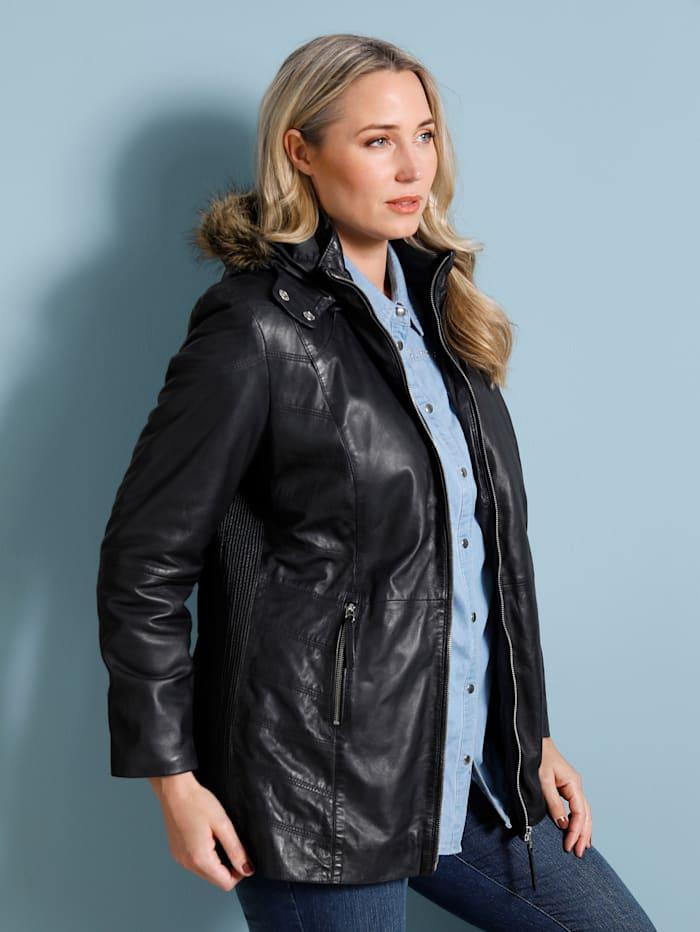 Kožená bunda s kožešinovou vsadkou