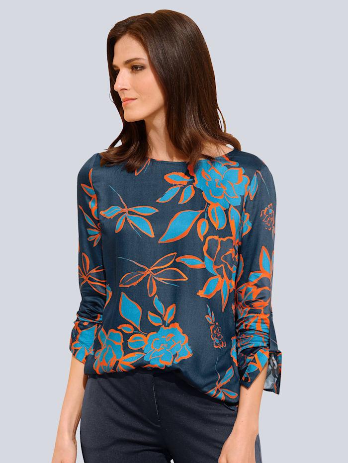 Alba Moda Bluse mit floralem Dessin, Marineblau/Orange