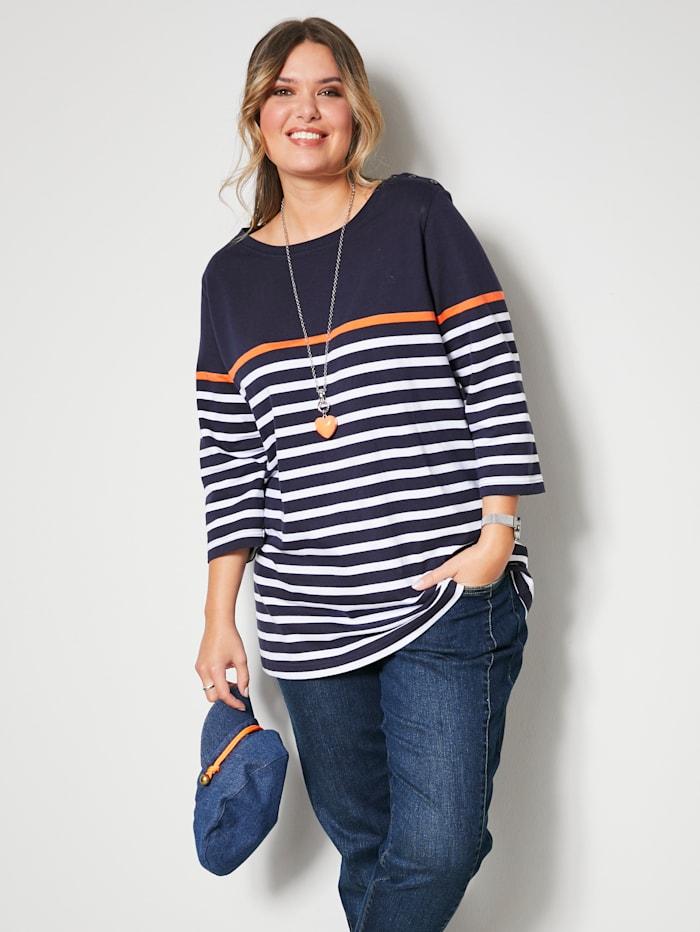 Janet & Joyce Sweatshirt mit bequemem U-Boot-Ausschnitt, Marineblau/Weiß/Orange