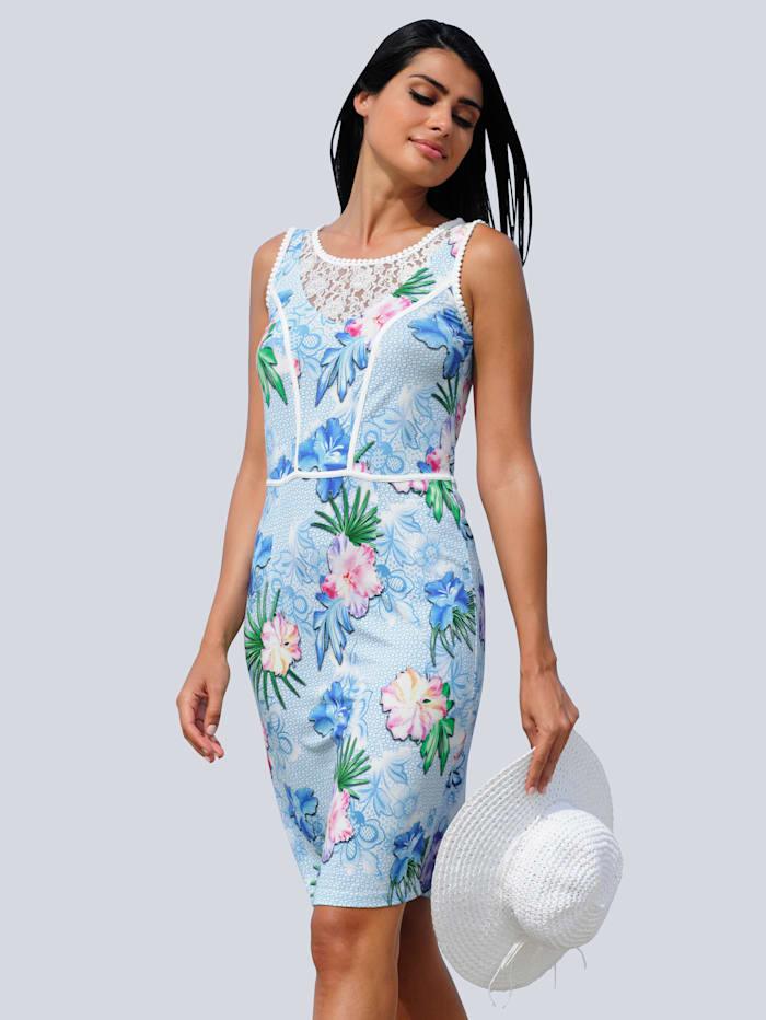 Alba Moda Strandkleid mit Spitze am Ausschnitt, Weiß