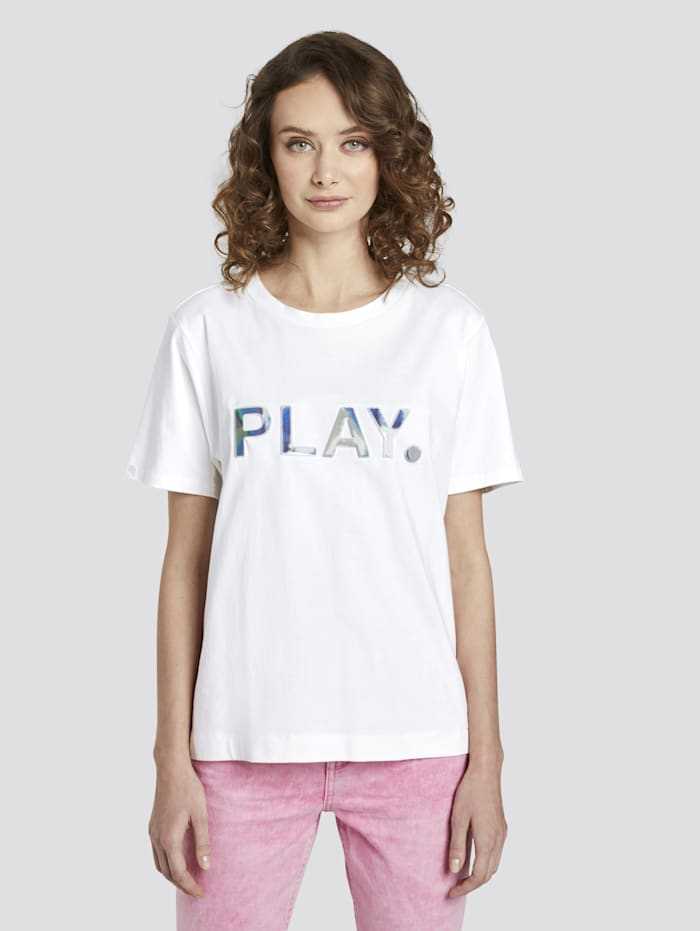 Tom Tailor Denim Lockeres T-Shirt mit Print, Off White