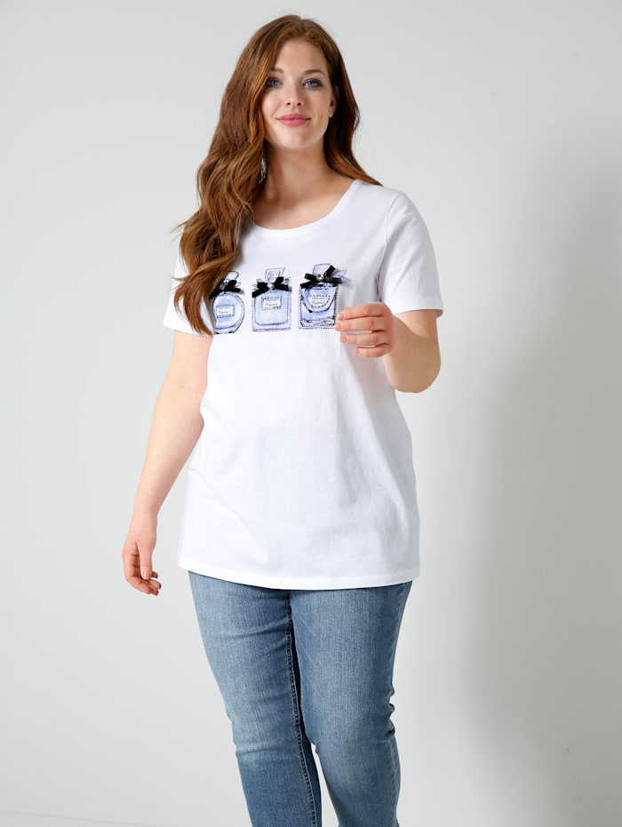 Sara Lindholm Shirt mit Parfum-Flakon Motiven, Weiß