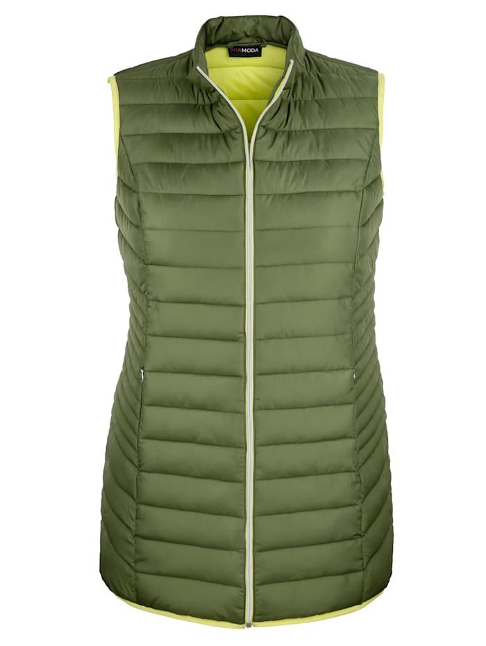 MIAMODA Vesta se stojatým límcem, Zelená/Limetková