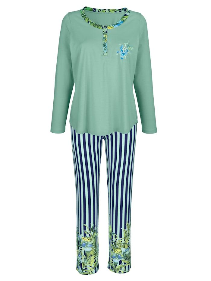 Harmony Schlafanzug mit floralem Bordürendruck, Marineblau/Hellgrün