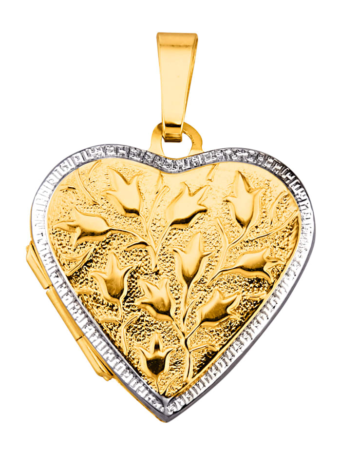 Herz-Medaillon in Gelbgold 375, Gelbgoldfarben