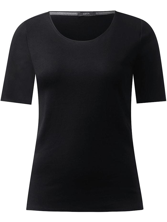 Cecil T-Shirt in Unifarbe, Black