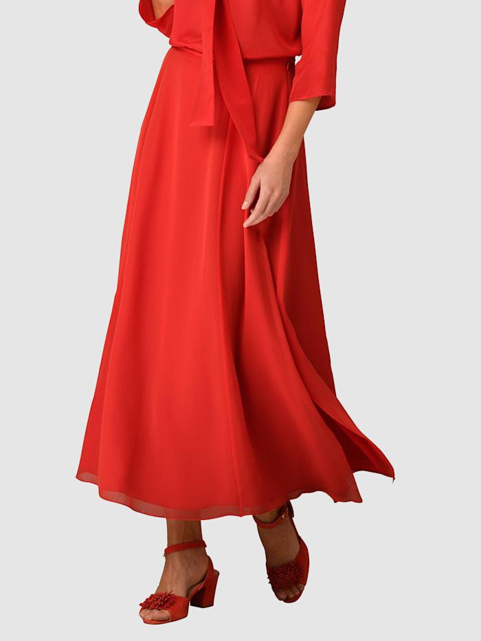 Alba Moda Kjol med slitsar, Röd