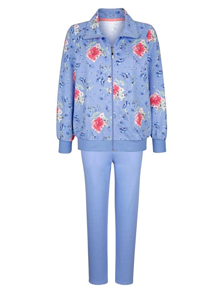 MONA Tenue de loisirs à ravissant motif floral, Bleu ciel/Vieux rose/Vert