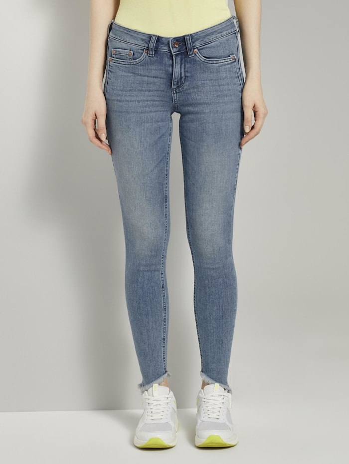 Tom Tailor Denim Jona Extra-Skinny Jeans mit Fransen, Used Mid Stone Blue Denim