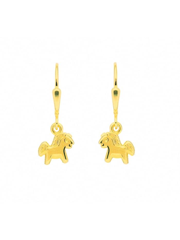 1001 Diamonds Damen Goldschmuck 333 Gold Ohrringe / Ohrhänger Pferd, gold