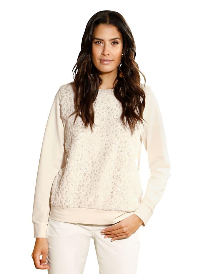 AMY VERMONT Sweatshirt mit Fellimitateinsatz, Off-white