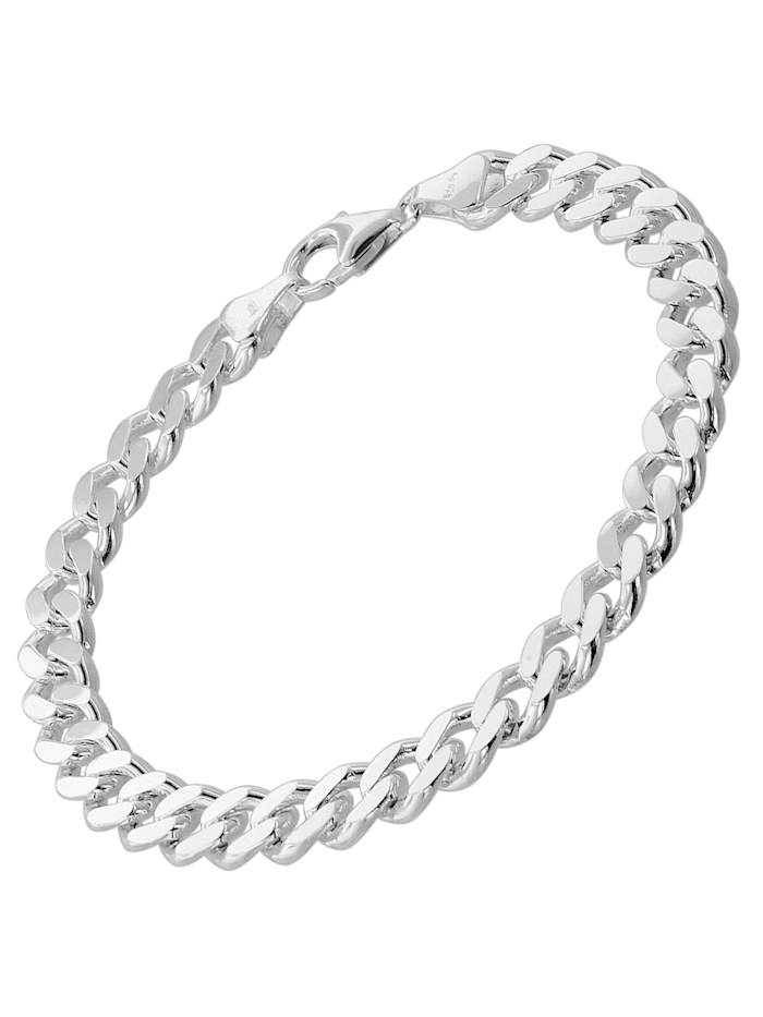 trendor Armband für Männer 925 Silber Panzerkette Massiv Breite 8,2 mm, Silberfarben