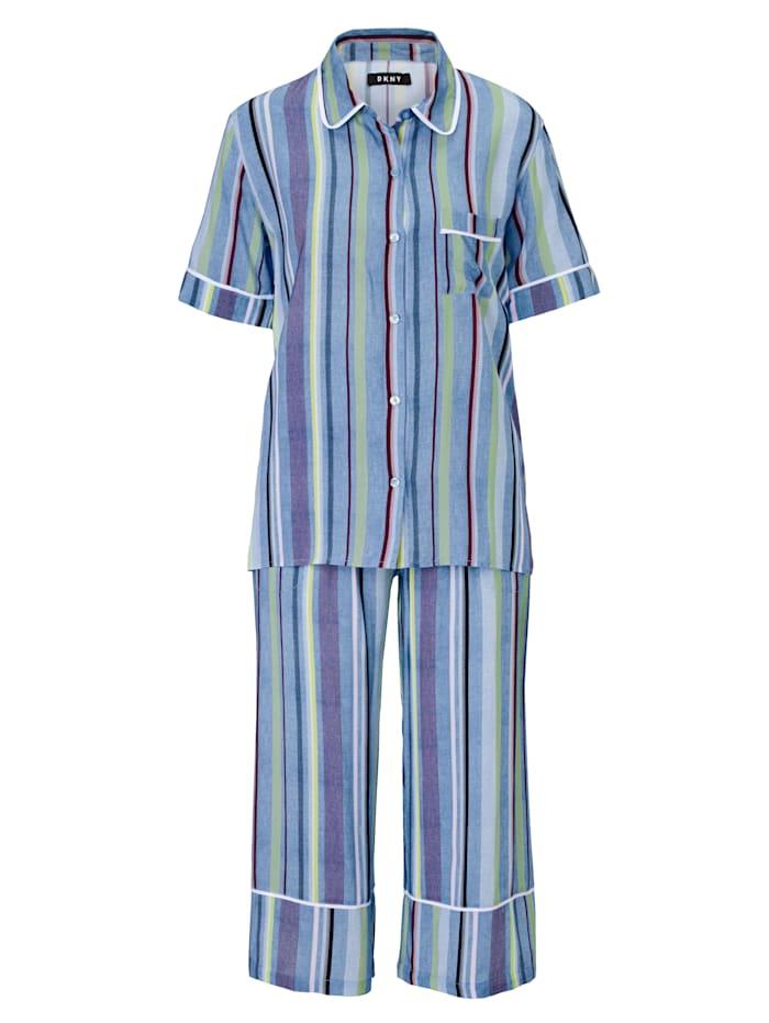 DKNY Pyjama, Blau/Weiß