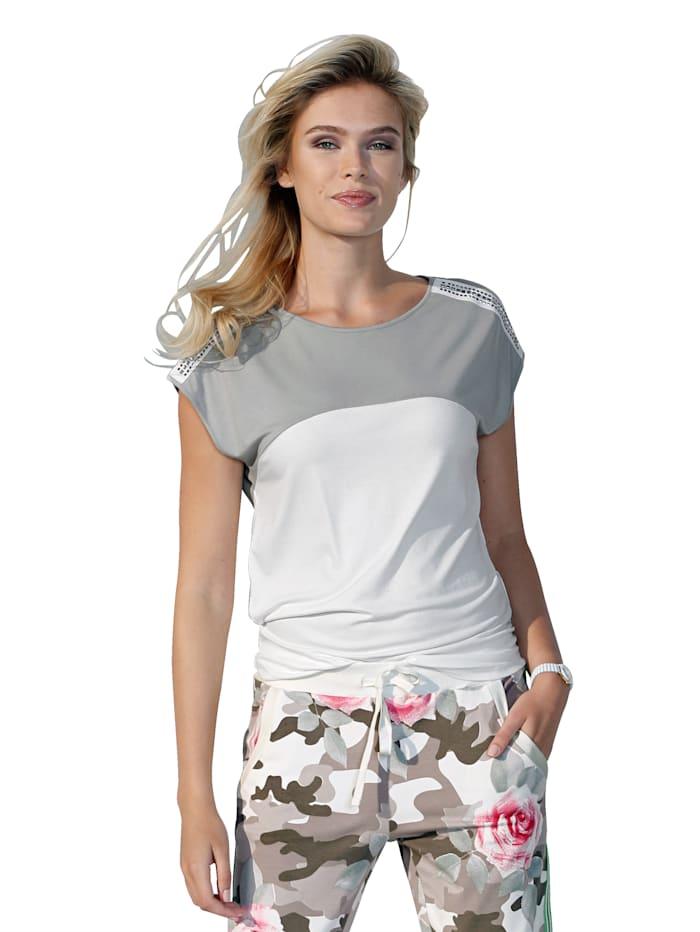 AMY VERMONT Shirt met klinknageltjes, Offwhite/Grijs