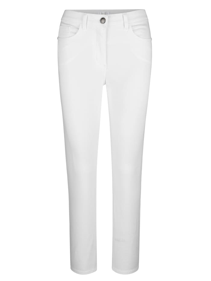MONA Pantalon en matière extensible confortable, Blanc