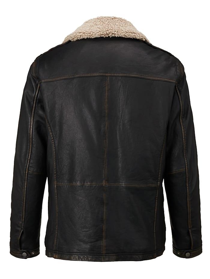 Veste en cuir à léger effet usé