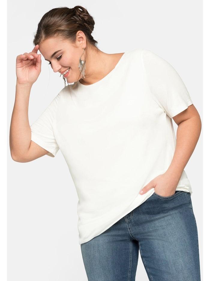 Sheego Sheego Blusenshirt im Layerlook mit rundem Ausschnitt, offwhite