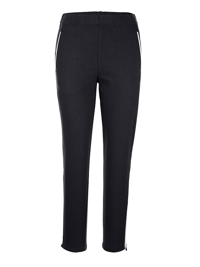 Harmony Freizeithose mit durchgehendem Reißverschluss an den Hosenbeinen, Schwarz/Weiß