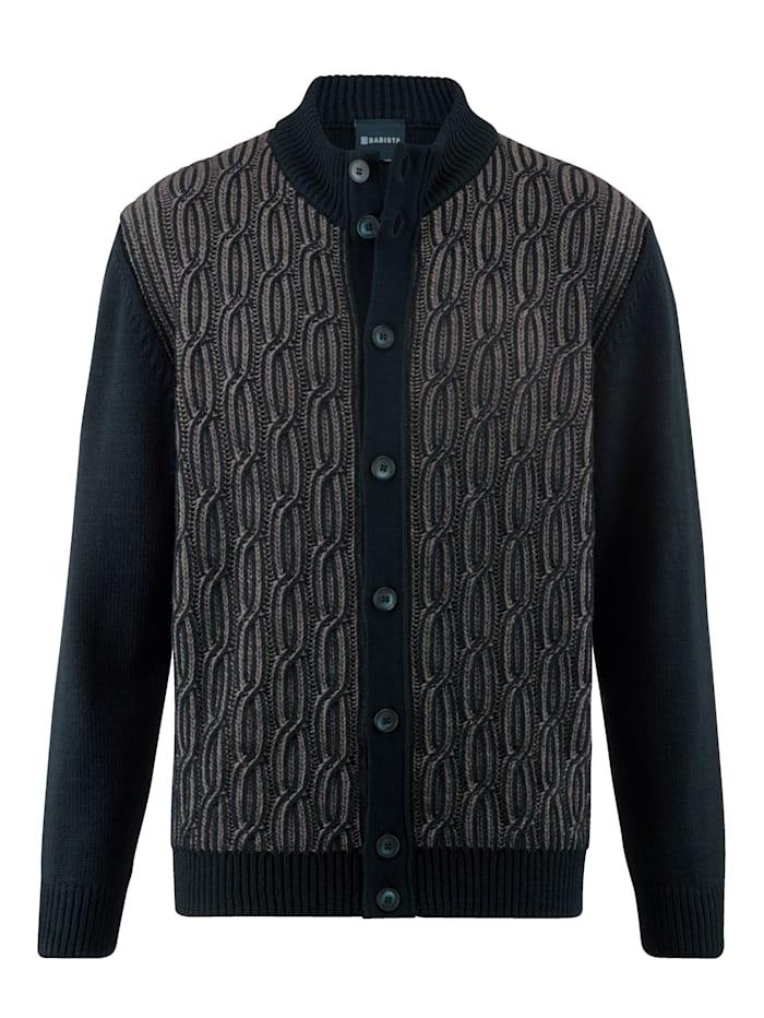 BABISTA Vest met hoogwaardig gebreid jacquard, Marine/Beige