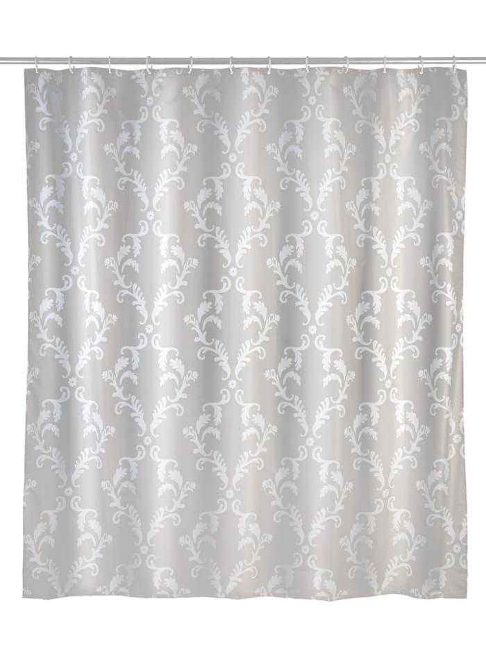 Wenko Anti-Schimmel Duschvorhang Baroque, Textil (Polyester), 180 x 200 cm, waschbar, Beige, Weiß
