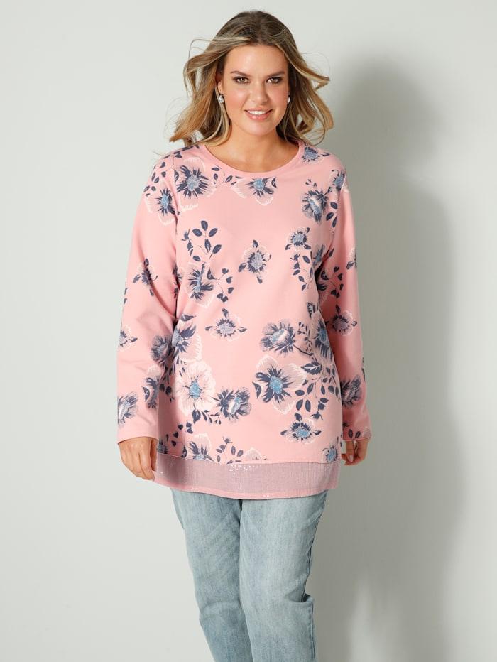 Janet & Joyce Sweatshirt met pailletten aan de zoom voor, Roze