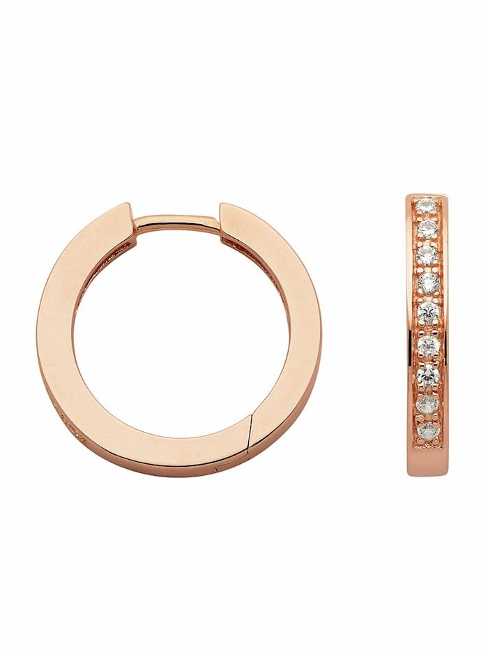 1001 Diamonds 1001 Diamonds Damen Silberschmuck 925 Silber Ohrringe / Creolen mit Zirkonia Ø 20,1 mm, rose