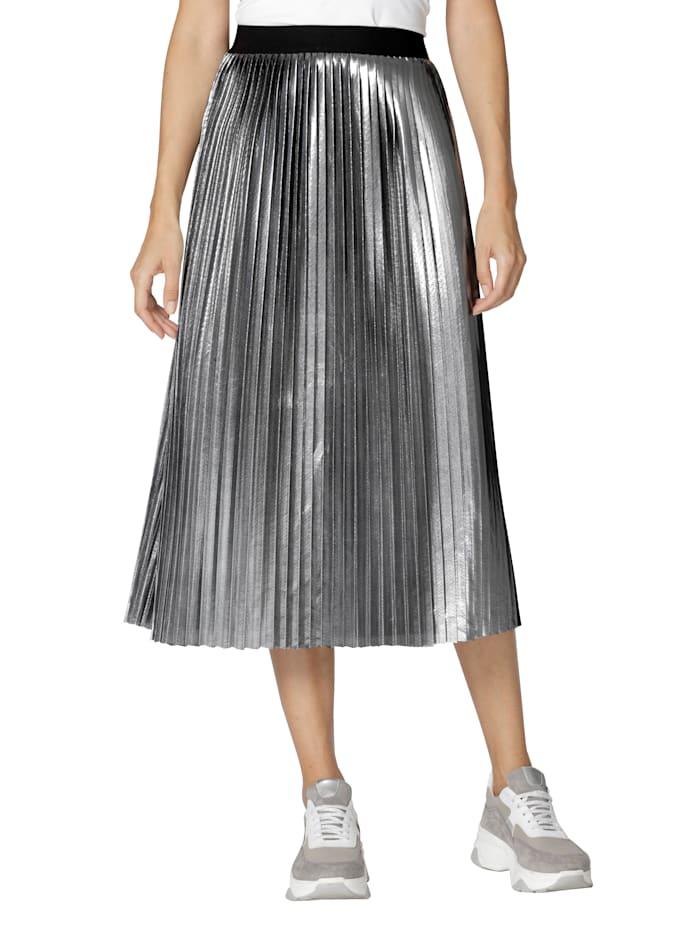 AMY VERMONT Plisovaná sukňa s metalickým efektom, Strieborná