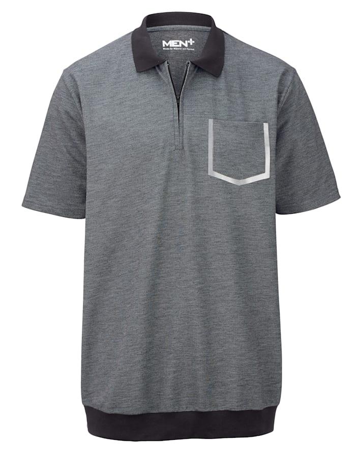 Men Plus Poloshirt met speciale pasvorm, Zwart/Wolwit