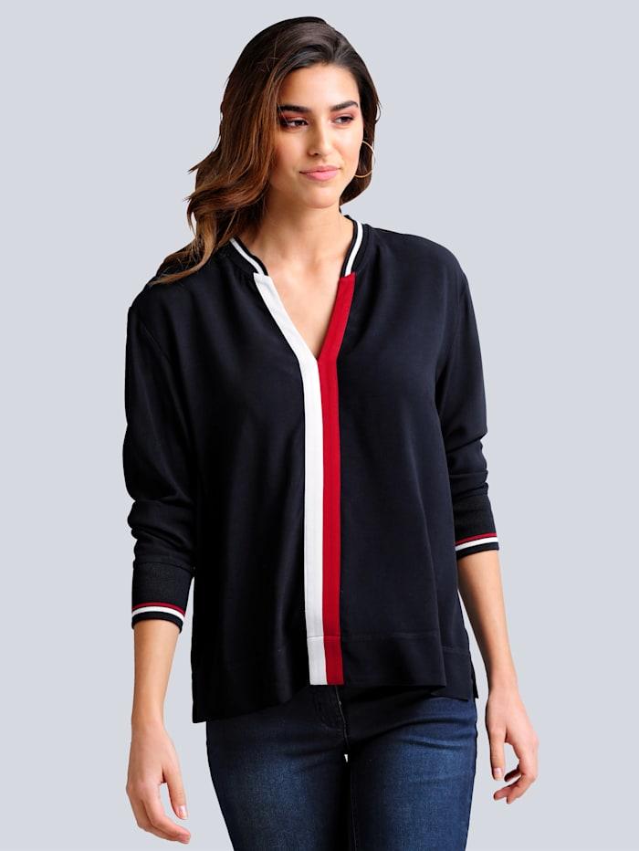 Alba Moda Bluse mit kontrastfarbener Blende im Vorderteil, Marineblau/Rot/Off-white