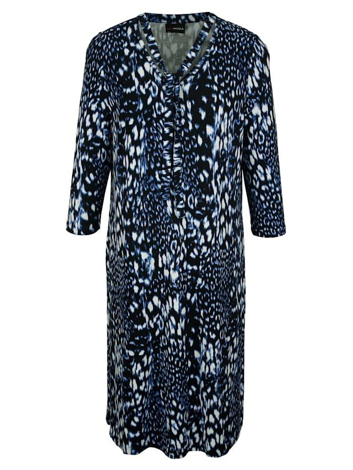 MIAMODA Šaty s ozdobnými šňůrkami na výstřihu, Modrá/Černá/Bílá