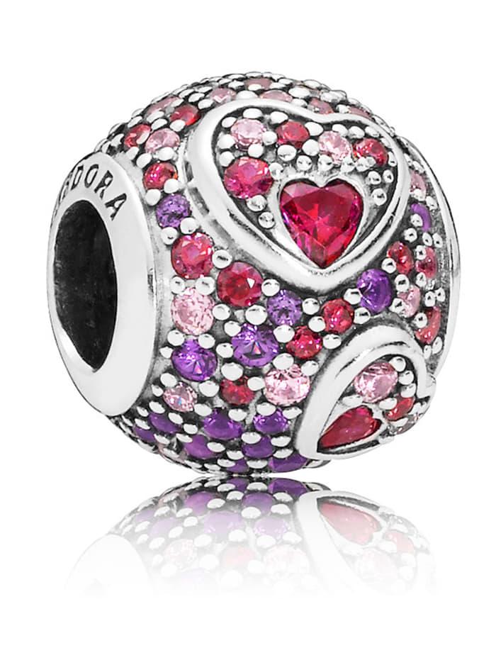 Pandora Charm - Asymmetrische Herzen Pavé - 797826CZRMX, Multicolor