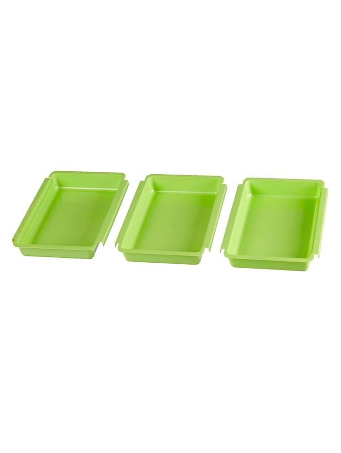 3-delige set paneerschalen, Groen