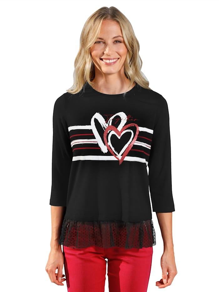 AMY VERMONT Shirt met gestippeld tule, Zwart/Rood/Wit