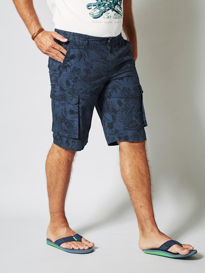 Men Plus Cargo Bermuda mit seitlichen Cargotaschen, Blau