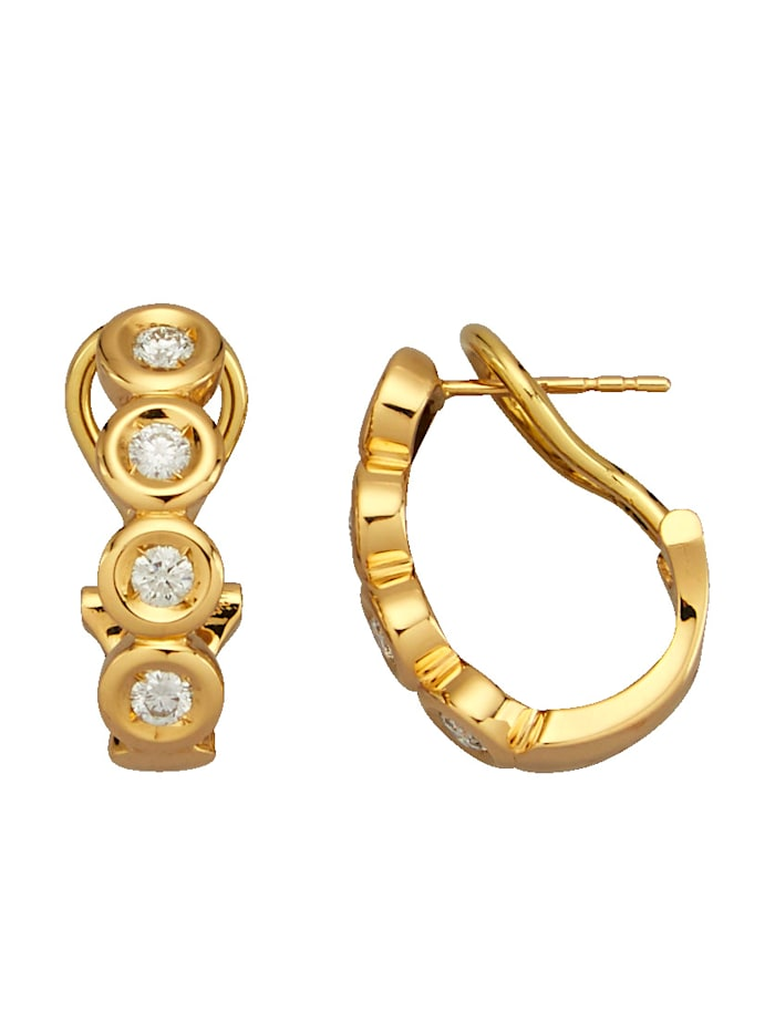 Amara Diamants Boucles d'oreilles avec brillants purs à la loupe, Coloris or jaune