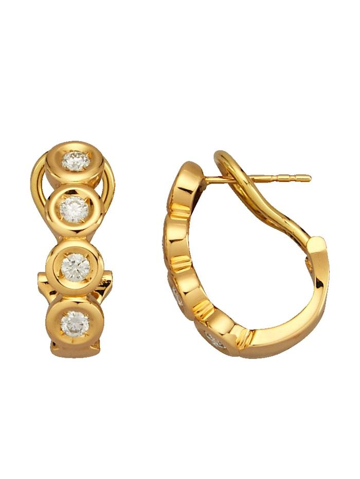 Diemer Diamant Ohrstecker mit lupenreinen Brillanten, Gelbgoldfarben