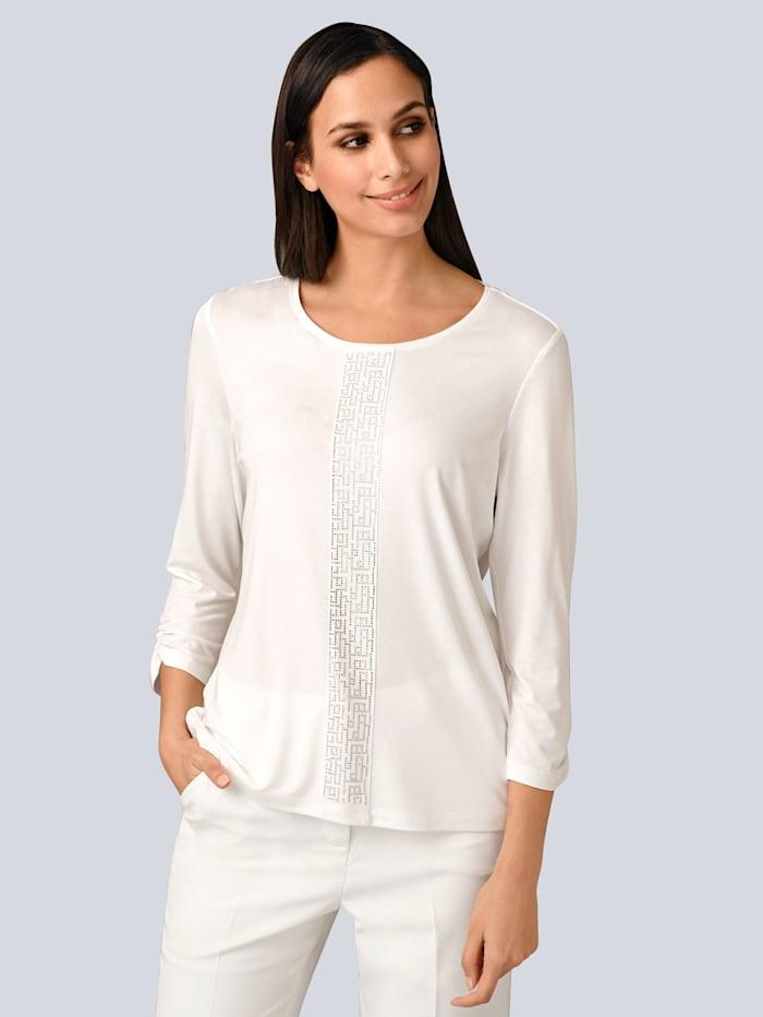 Alba Moda Shirt mit grafischer Strass-Applikation im Vorderteil, Off-white