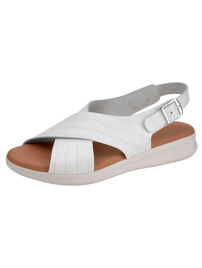Sandaaltje in modieuze krokolook, Wit