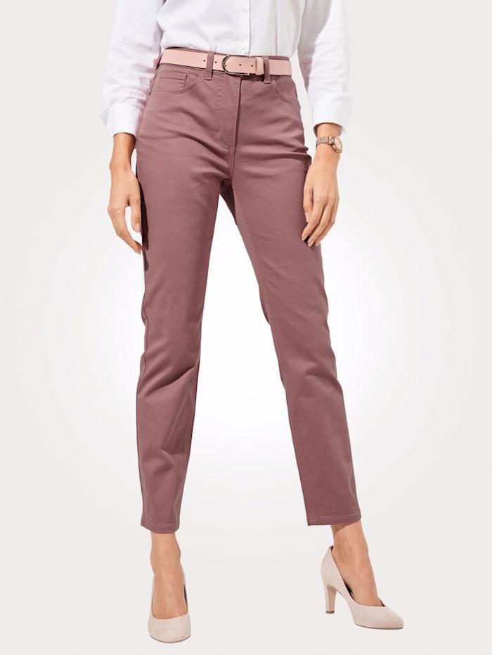 MONA Pantalon avec ceinture partiellement extensible en grandes tailles, Vieux rose