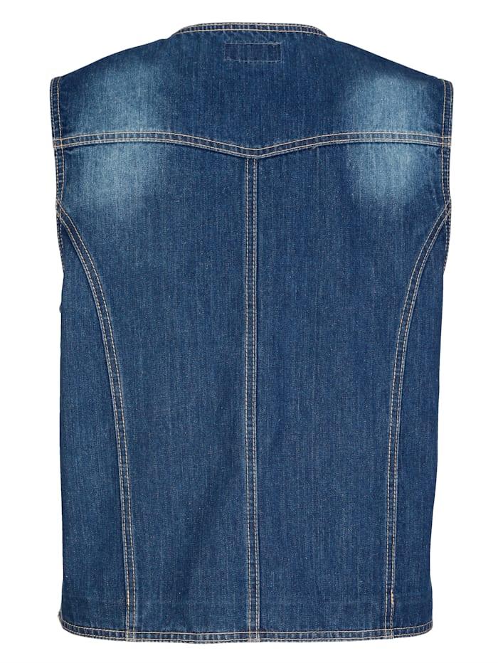 Jeansgilet met contrastnaden
