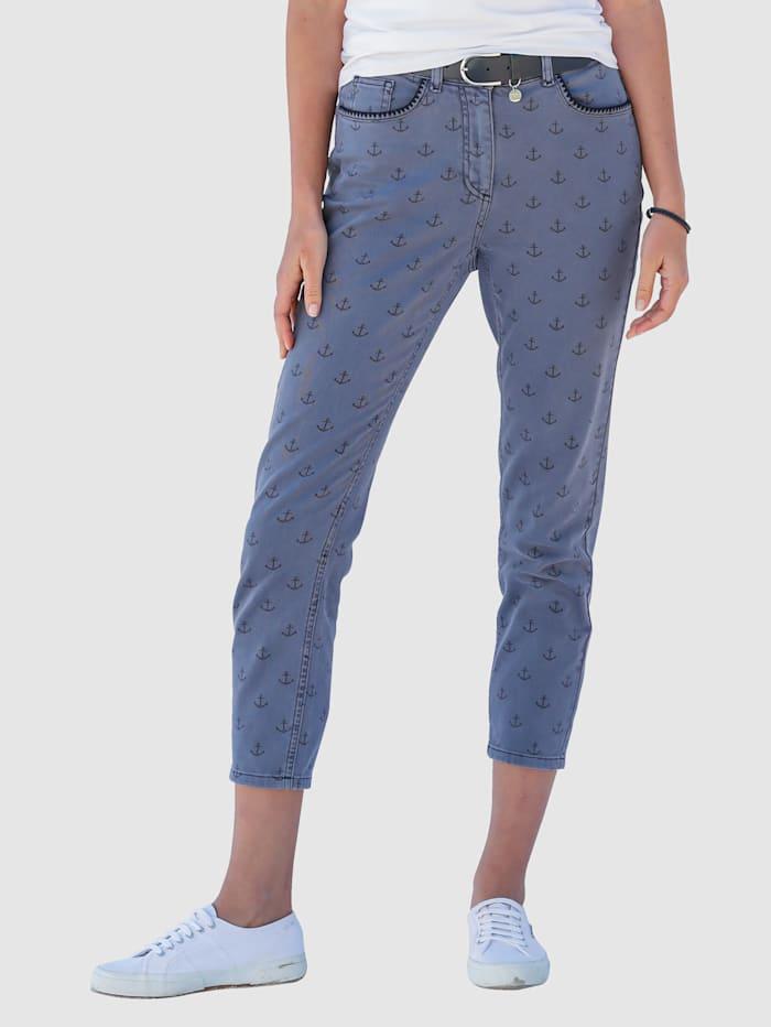 MONA Jeans met ankerprint, Blauw